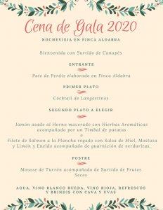 menu finca aldabra nochevieja 2020